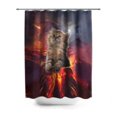 3D-штора для ванной Кот на вулкане