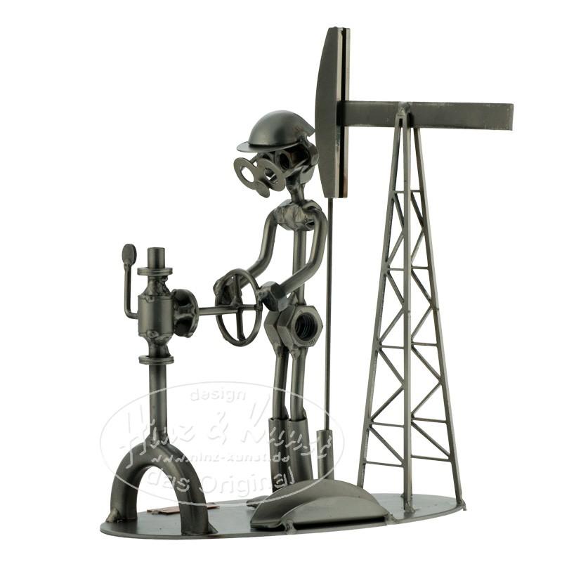 Статуэтка-подставка для визиток из металла Нефтяник
