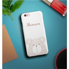 Именной чехол для iPhone Мишка