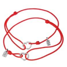 Парные браслеты для мам и дочек Сердечки (серебро)