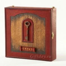 Настенный футляр для ключей из кожи с антикварным ключом