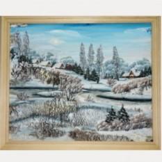Большая объёмная картина на бересте Зимняя деревня