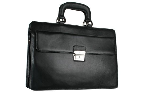 Черная мужская кожаная сумка Leo Ventoni
