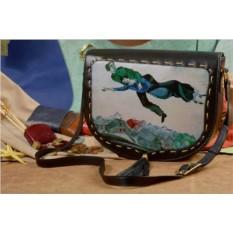 Женская кожаная сумка-седло Картина Шагала от Elole Design