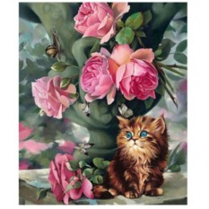 Картина-раскраска по номерам на холсте Котёнок и розы