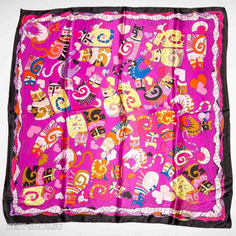Шелковый платок Кошки на сиреневом