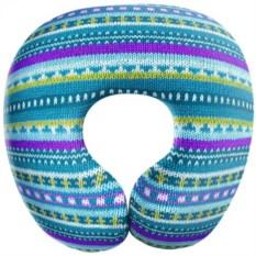 Голубая дорожная подушка антистресс Вязание