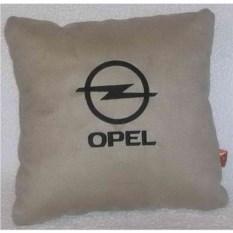 Светло-бежевая с черонй вышивкой подушка Opel