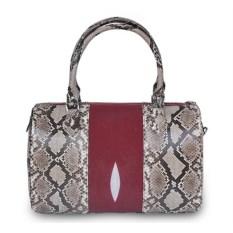 Красно-бежевая женская сумка из кожи ската и питона