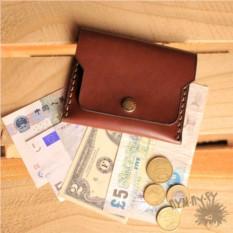 Кожаный коричневый кошелек с кнопкой Small