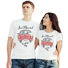 Парные футболки Just Married, машина