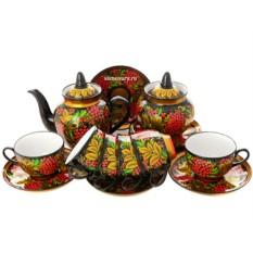 Чайный сервиз с художественной росписью Хохлома с рябиной