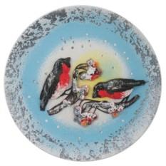 Декоративная тарелка на подставке Снегирь