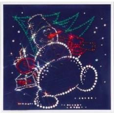 Картина Swarovski Снеговик на синем фоне