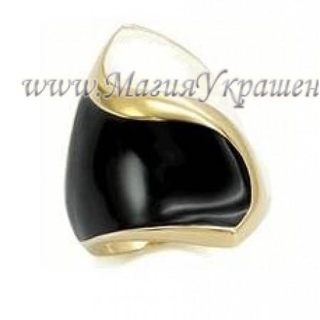 Кольцо Черно-белое с эмалью