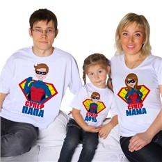 Футболки для семьи Супер папа, мама, дочь