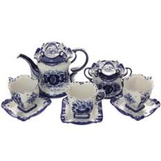 Чайный набор на 6 персон с росписью Гжельское чаепитие