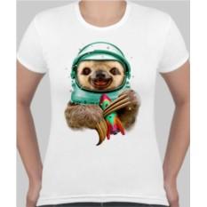 Женская футболка Ленивец космонавт