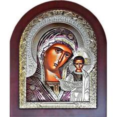 Казанская икона Богородицы в серебряном окладе