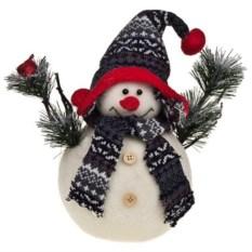 Новогоднее украшение Снеговик с птичкой