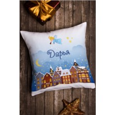 Декоративная подушка с именной вышивкой Рождество