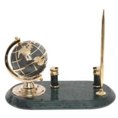 Набор из мрамора глобус: ручка с подставкой и визитницей