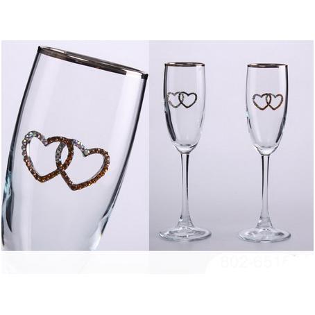 Свадебные бокалы с серебрянной каймой, 2  шт.
