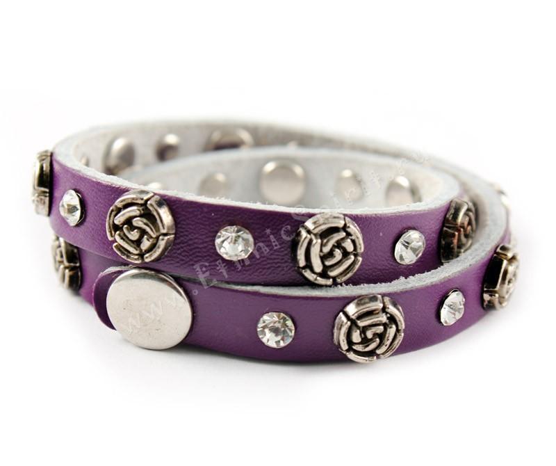 Кожаный браслет Фиолетовая роза Swarovski