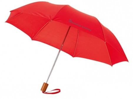 Красный складной механический двухсекционный зонт