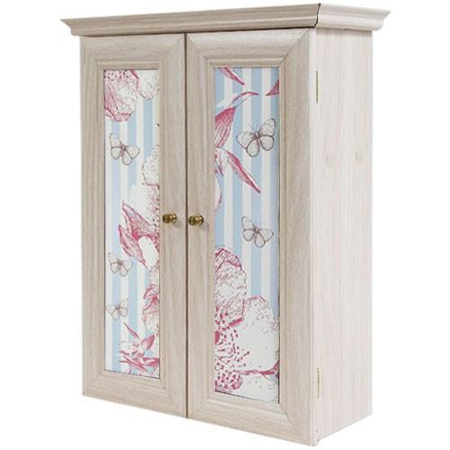 Декоративный настенный шкафчик Бабочки на голубом беж