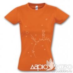 Женская футболка Маленький Принц на планете, оранжевая