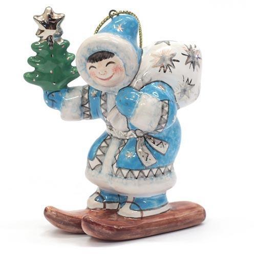 Елочная игрушка Мальчик на лыжах с мешком