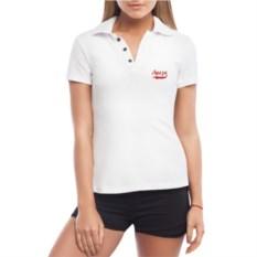 Белая именная женская футболка-поло с текстом красного цвета