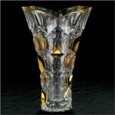Хрустальная ваза для цветов с золотым декором