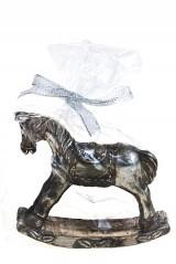 Свеча Детская лошадка, серебристая