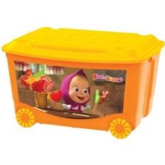 Оранжевый ящик для игрушек на колесах Маша и медведь