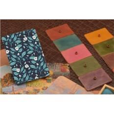 Обложка для паспорта / автодокументов Цветы на синем фоне