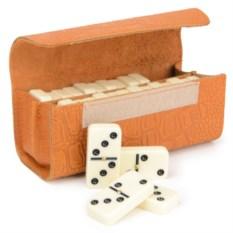Настольная игра Домино в кожаном пенале