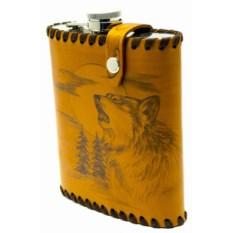 Фляга Воющий волк 0,6 литра в чехле из натуральной кожи