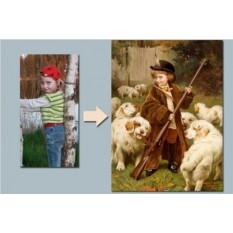Портрет мальчика на холсте по фото