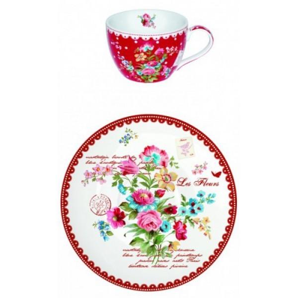 Чайный набор Цветы на 6 персон, красный Les Fleurs