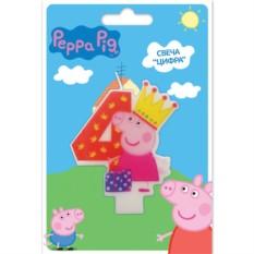 Фигурная свеча «Цифра 4», Peppa Pig