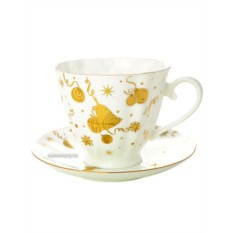 Чайная чашка с блюдцем, форма Гвоздика, рисунок Веселый праздник, Императорский фарфоровый завод