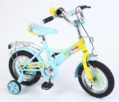 Велосипед Leader Kids G12BD130, цвет: голубой/желтый