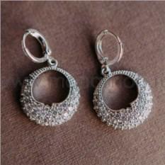 Серьги-кольца «Блеск» с белыми цирконами