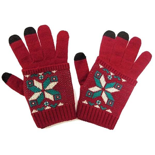 Дизайнерские перчатки для iPhone, с митенкам, красные