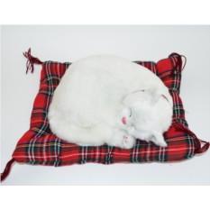 Мягкая игрушка с дыханием Белая короткошерстая кошка