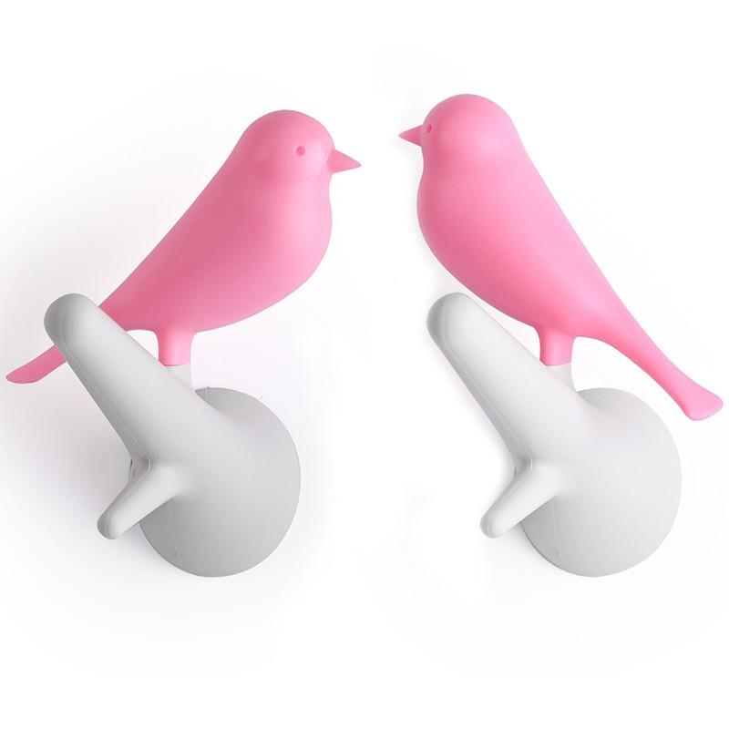 Вешалки настенные Sparrow 2 шт., белые/розовые