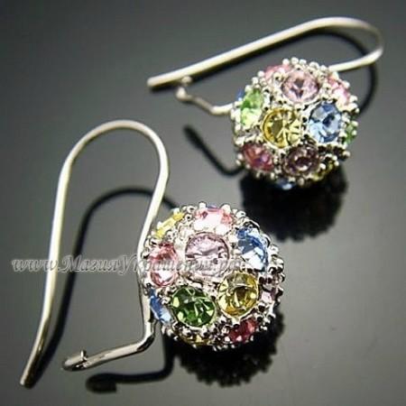 Серьги Разноцветные шары с кристаллами Swarovski