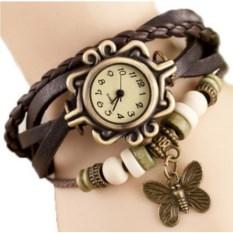 Коричневые модные часы-браслет с бабочкой из экокожи